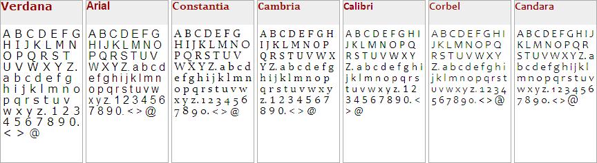 Screenshot: Schriftarten-Schriftgrößen-Vergleich